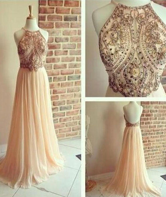 A line Chiffon Backless Beading, Sequin Long Prom Dresses - shdress