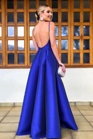 Simple v neck blue satin long prom dress, blue evening dress