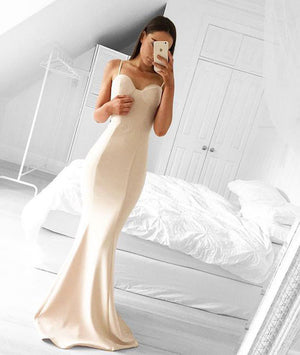 Simple sweetheart neck mermaid long prom dresses, evening dress - shdress