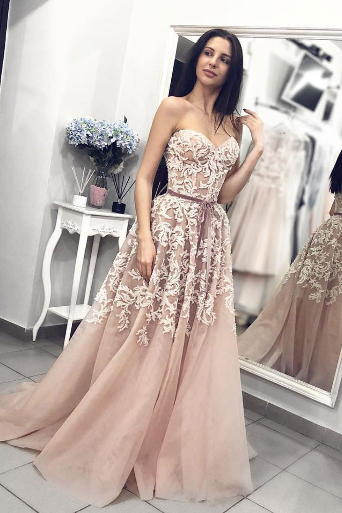 Champagne sweetheart neck tulle lace long prom dress, tulle evening dress