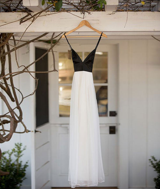 Simple White Chiffon Backless Long Prom Dress, Evening Dress