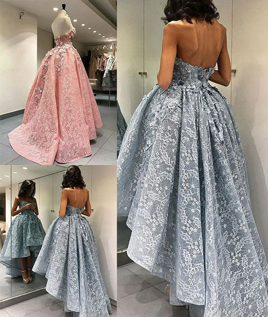 Unique sweetheart lace short prom gown, lace evening dress - shdress
