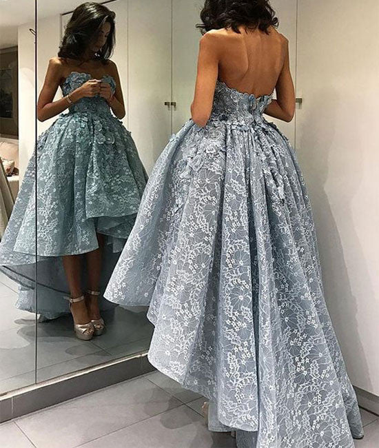Unique sweetheart lace short prom gown, lace evening dress
