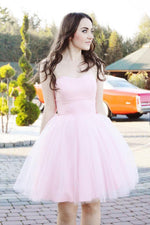 Simple sweetheart pink tulle short prom dress, pink tulle homecoming dress