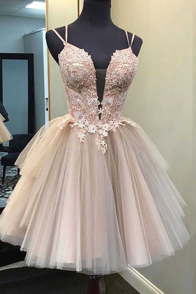 Champagne v neck tulle lace short prom dress lace homecoming dress