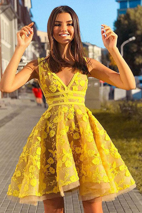 Yellow lace short prom dress, yellow homecoming dress