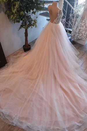 Light pink tulle lace long prom dress, wedding dress