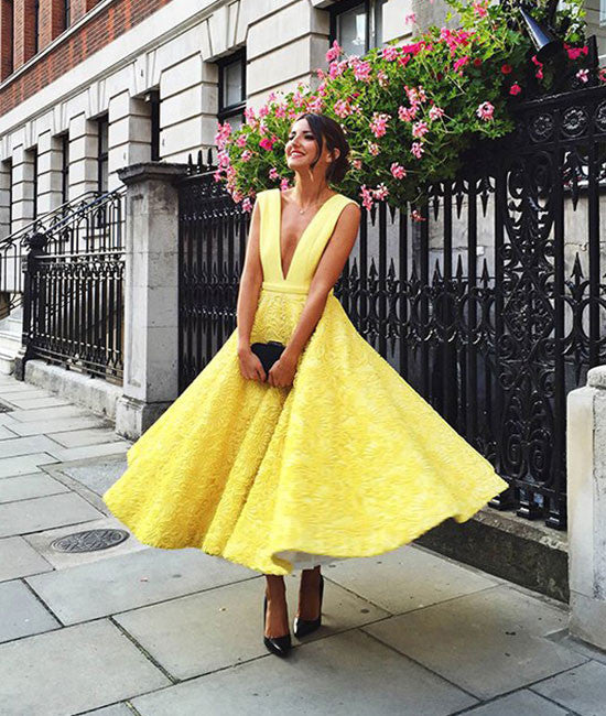 Cute yellow tea Length lace prom dress, lace evening dress