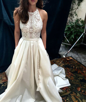 Custom made white lace long prom gown, wedding dress - shdress