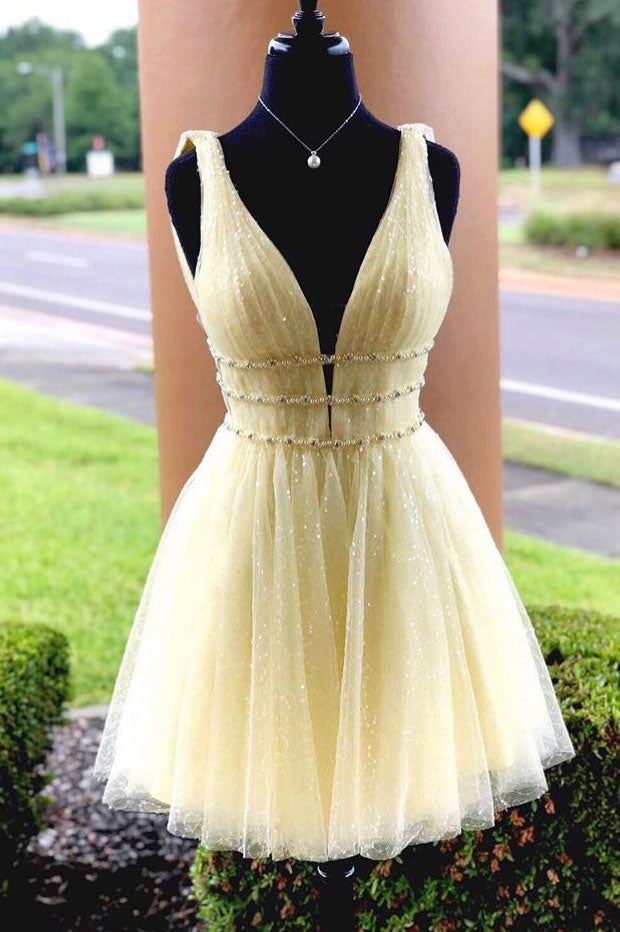 Cute yellow tulle short prom dress, yellow homecoming dress