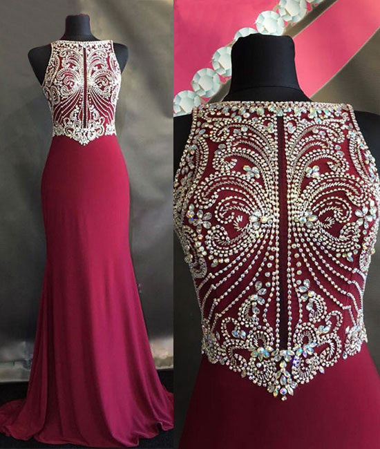 Unique beaded chiffon red long prom dress, evening dress