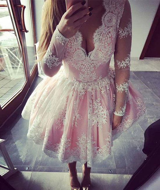 cute pink lace short prom dress, pink lace homecoming dress - shdress
