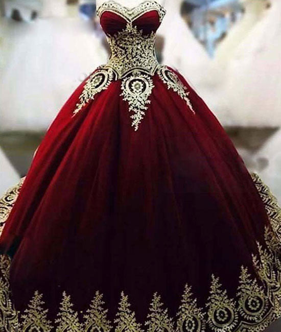 Unique burgundy lace long prom gown, bugrundy evening dress