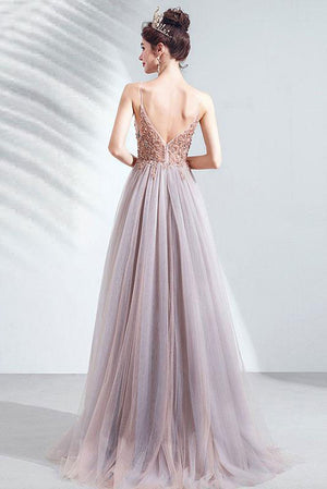 Elegant v neck tulle beads long prom dress tulle formal dress