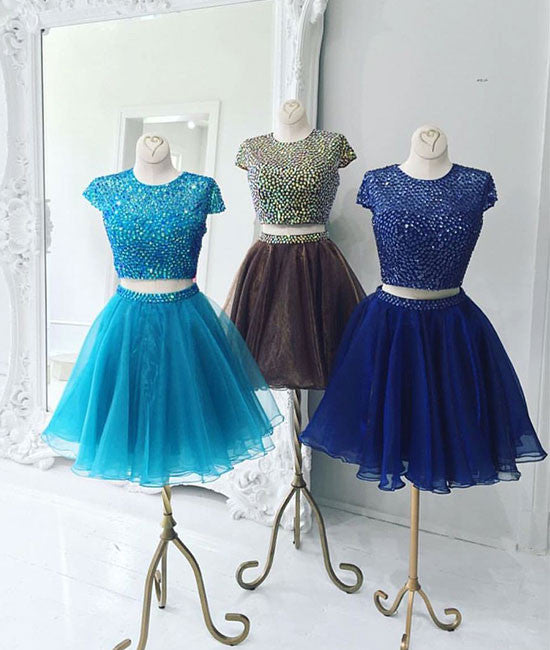 custom made beading two pieces short prom dress, cute homecoming dress