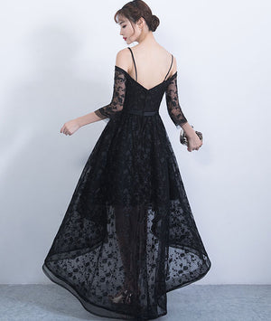 Black sweetheart lace high low prom dress, lace evening dress - shdress