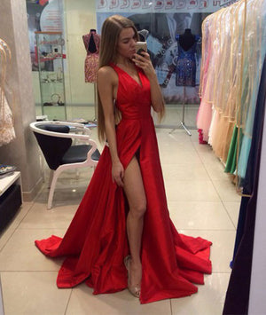 Simple v neck red long prom dress for teens, evening dress - shdress