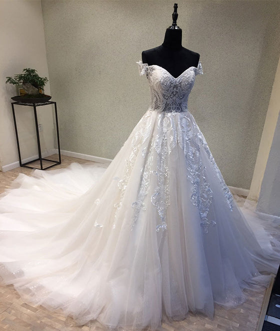 White sweetheart tulle lace applique long prom dress, wedding dress