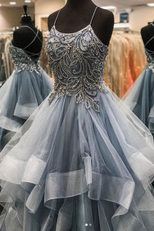 Gray tulle beads long prom dress gray tulle long evening dress