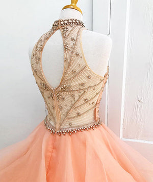 Orange tulle beads long prom gown, orange sweet 16 dress - shdress