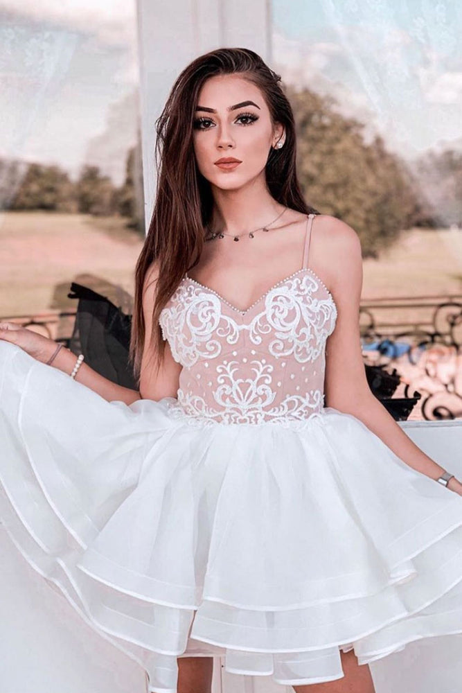 White tulle lace short prom dress white lace cocktail dress