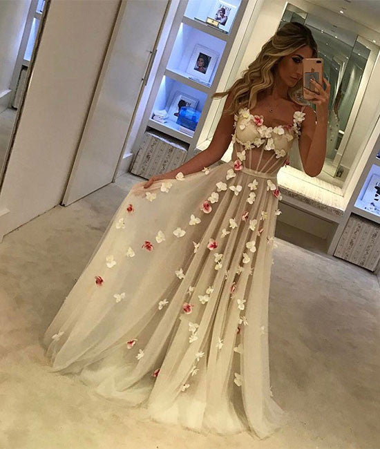 Unique tulle white long prom dress, white formal dress - shdress