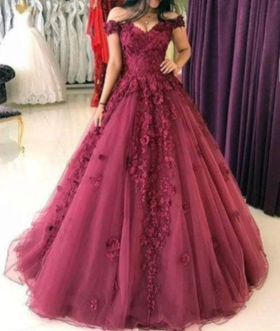 Burgundy off shoulder tulle lace applique long prom dresses