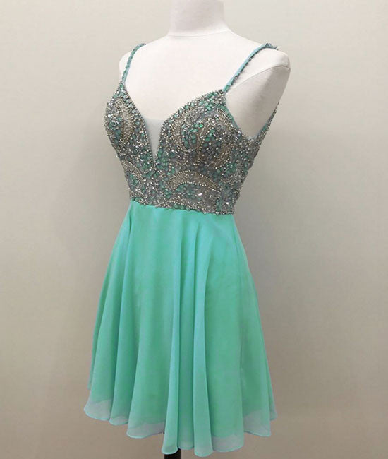 Green v neck sequin beads short prom dress, green homecoming dress