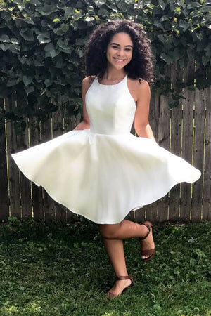 Simple white satin short prom dress white homecoming dress
