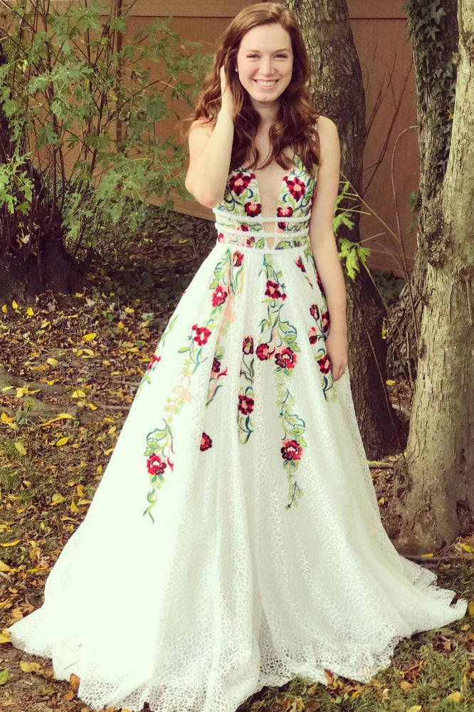 White v neck lace applique long prom dress white lace evening dress