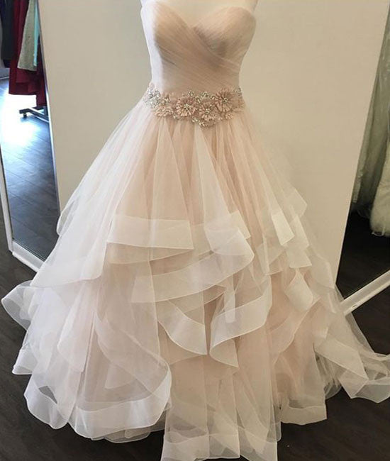 Champagne sweetheart tulle long prom dress, evening dress - shdress