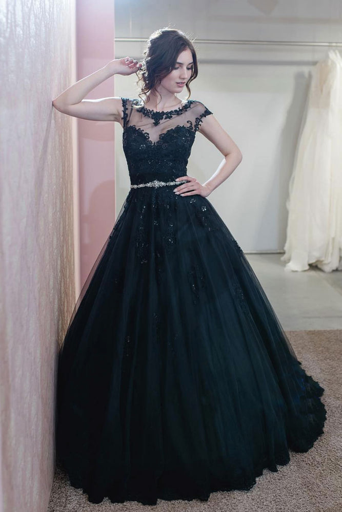 Unique round neck tulle lace long prom dress, tulle evening dress