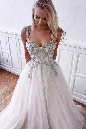 Unique white tulle sweetheart long prom dress, white evening dress