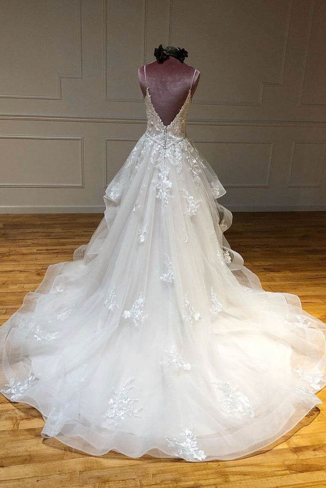 Light champagne tulle lace long prom dress lace long wedding dress