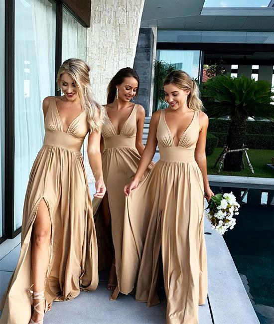 Champagne v neck long prom dress, champagne bridesmaid dress - shdress