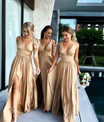 Champagne v neck long prom dress, champagne bridesmaid dress