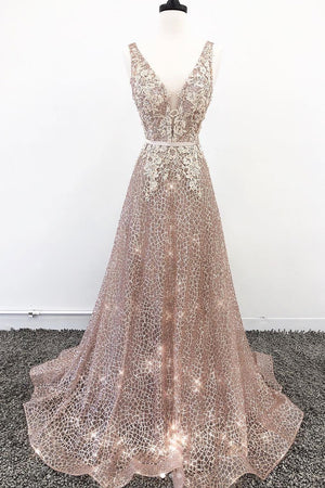 Unique v neck tulle lace long prom dress, champagne tulle evening dress