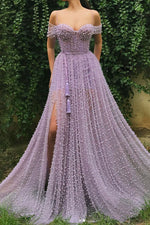 Purple sweetheart off shoulder tulle beads long prom dress