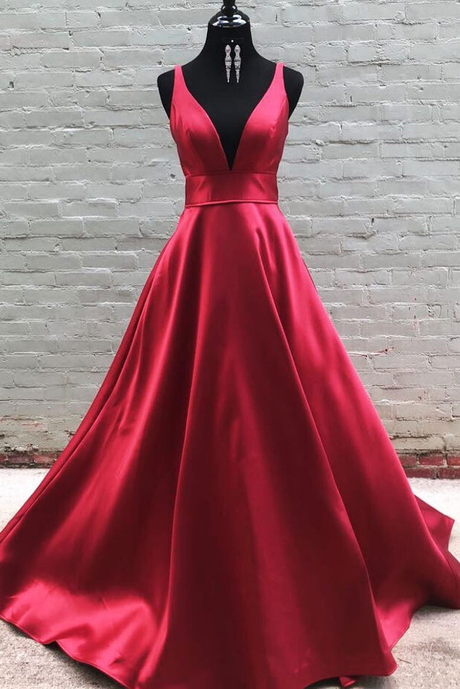 Simple v neck burgundy satin long prom dress  burgundy formal dress
