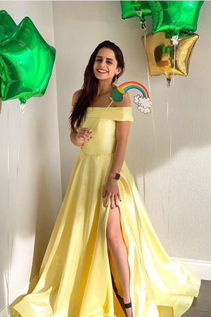 Yellow satin long prom dress, yellow evening dress