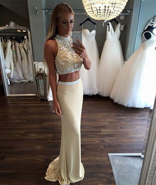 Custom Made 2 Pieces Chiffon Long Prom Dresses, Formal Dress - shdress