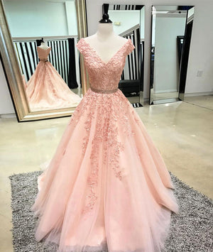 Pink v neck tulle lace applique long prom dress, pink tulle evening dress - shdress