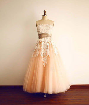 Champagne Tulle lace tea length Prom Dress, Bridesmaid Dress - shdress