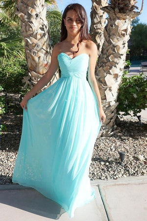 Simple sweetheart neck chiffon long prom dress, bridesmaid dress