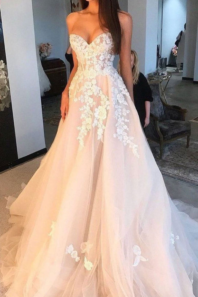 Elegant sweetheart tulle lace long prom dress, tulle evening dress