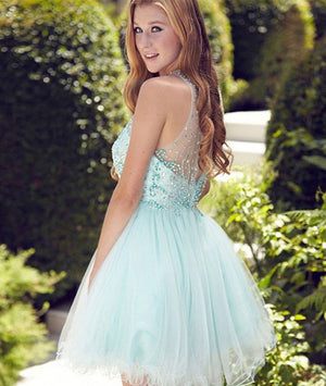 Cute round neck tulle beads sequin short prom dress, homecoming dress - shdress