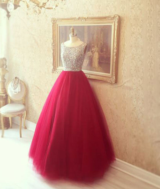 Red round neck tulle rhinestones long prom dress, red evening dress