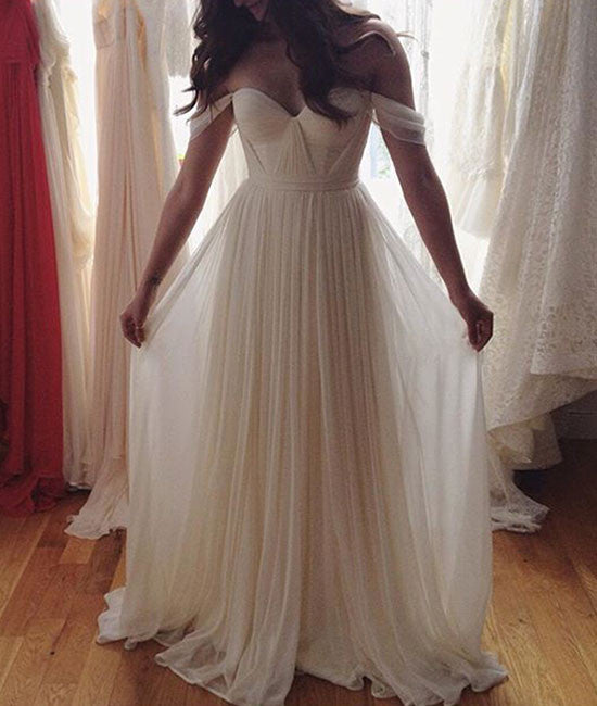 Simple Sweetheart Neck A-line White Long Prom Dress, Evening Dress