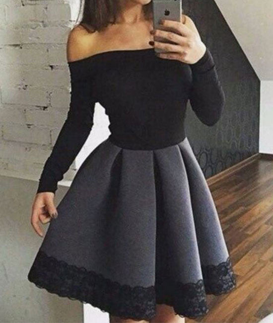 Cute gray short lace prom dress, cute women fashion dress