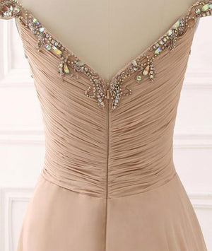 Champagne sweetheart chiffon beads long prom dress - shdress